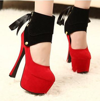 Wholesale Strappy Purple Shoes - 2013 New Sexy 2 Ways Red Black Noble Sexy Club Party Platform High Heels Strappy Shoes Size 34 40