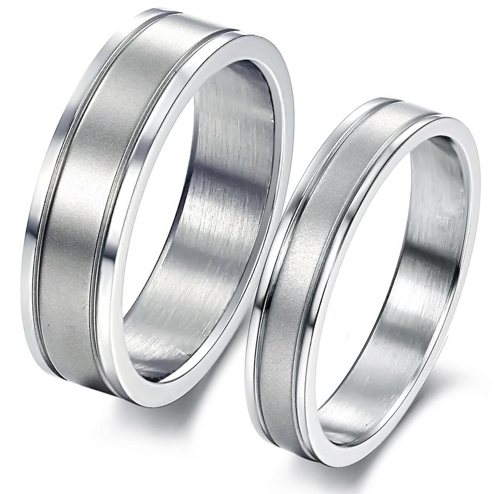 2017 316l Stainless Steel Lovers Couple Rings Simple Couple Rings ...