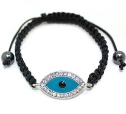 Wholesale Charm Bracelets Low Price - Free shipping Lowest price New Charm braided evil eye bracelet with Sparkling Rhinestones 10pcs lot