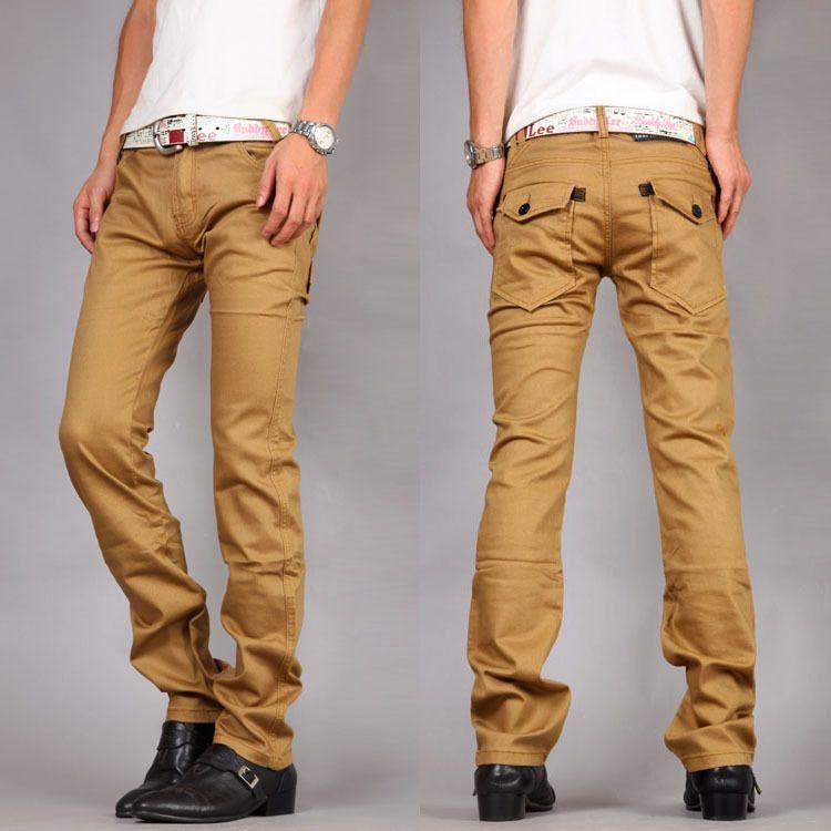 2017 2015 Fashion Mens Dress Trousers Khaki Slim Fit Casual Pants ...