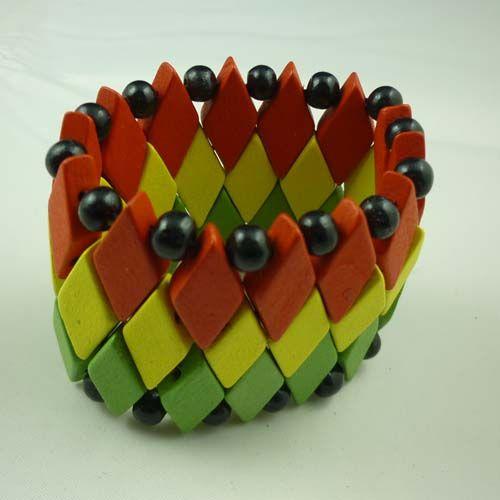 Braccialetto di legno variopinto del braccialetto di fascino di prezzo più basso di trasporto più basso in quadrato /