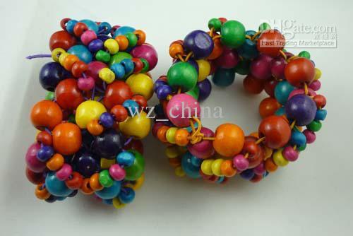 Frete grátis Menor preço Novo Colorido Charme De Madeira Bead Bangle pulseira 12 pçs / lote