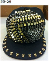 Wholesale Studded Hip Hop Hat - Adjustable Punk Rock Studded Studs With Rivet Snapback Hats Caps hip hop Snapbacks Cap Hat Fashion street hats caps Many Designs