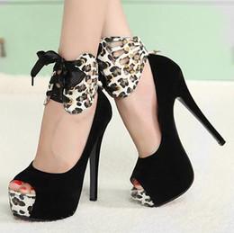Wholesale Ladies Platform Shoes Elastic Band - Big Size 2 Ways Sexy Ladies Black Leopard Peep Toe Platform Stiletto Dress shoes Size 34 40 3 Colors