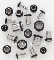 oring sizes - Hot body jewelry mixed sizes Stainless Steel single flared with oring ear tunnels