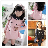 Wholesale Double Breast Girl Dress - Free shipping Autumn 5pcs lot baby girls princess dress children long sleeve double breasted dress k