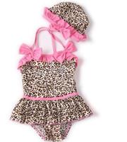 Wholesale Leopard Baby Swim - Wholesale - Baby swimwear Leopard piece swimsuit piece Neck piece swimsuit holding swimming cap 5 p l