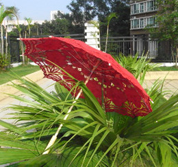 Wholesale Dance Pencil - full red lace handmade spanish Parasol Umbrella for wedding Bridal dancing batten lace woman accessories high quality