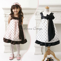 Wholesale Booking grils sleeveless dresses Bow Dotted dress size AL4887