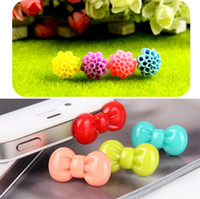 Wholesale Bow Anti Dust Earphone - Bow Headphone Plug For iphone 4 4s 5 Apple Phone Small Floral Cell Phone Anti-Dust Plugs