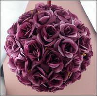 Wholesale Satin Kissing Balls - 5inches 8inches Hot sell Dark Purple Rose Flower Kissing Ball Wedding flowers Decoration wide For flower girl