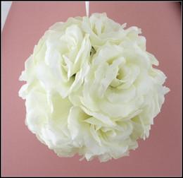 "Wholesale Hot Kiss Cream - 6"" Cream Ivory Flower Kissing Ball Wedding flowers Decoration For flower girl Weddings & Events Hot sell"