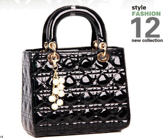 Hot Celebrity Fashion Designer Girl Patent Leather Handbag Tote ...