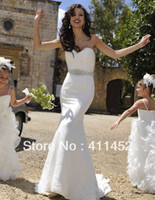 Wholesale White Jeweled Mermaid Dress - Brand New Ivory Sweetheart neckline Low Back Attached Belt Jeweled Belt Sheath Lace bride of wedding dress 1443