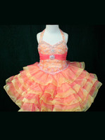 Wholesale Girls Multi Colored Dresses - Multi Colored Toddler Pageant Dress Embellished Little Rosie Halter Strap pink Pageant Dress SR264