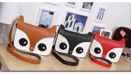 Wholesale Little Brown Bag Wholesaler - New style Korean Girl Naughty Cartoon Little Fox Bag Retro Cute Satchel Shoulder Bag fashion bags
