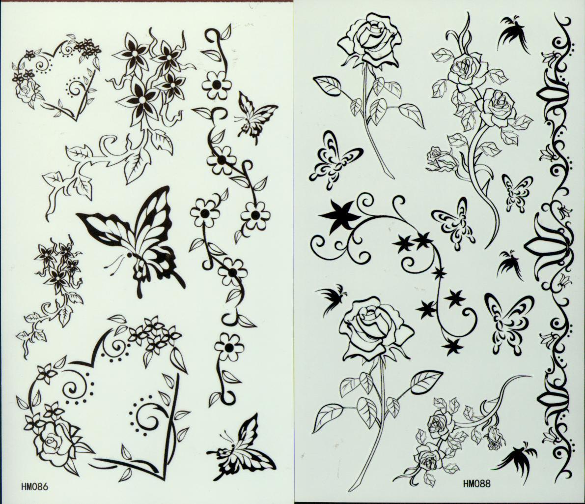 Tatuajes temporales 50 unids / lote Plantillas de Tatuaje de Mariposa Para Cuerpo Impermeable Noticias Tatuajes de Mariposas 206 * 105 mm