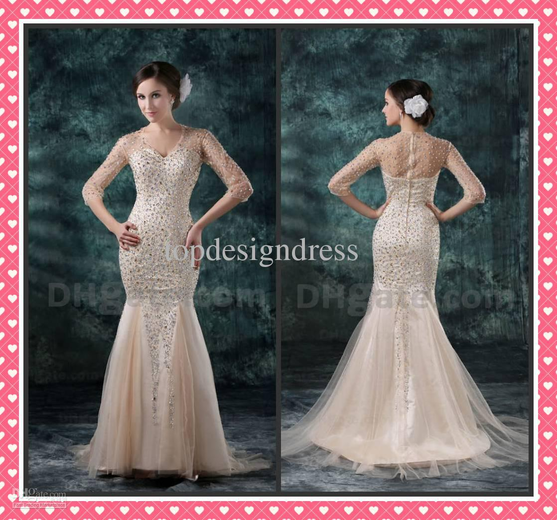 New Arrival Prom Dress With Sleeves Mermaid V Neck Beaded Floor ...