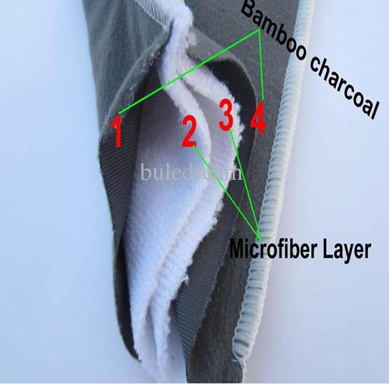 top popular Promotion 30 pcs 4 layers (2+2) Reuseable Charcoal bamboo Insert Washable Baby Cloth Diaper Nappy Inserts 2020
