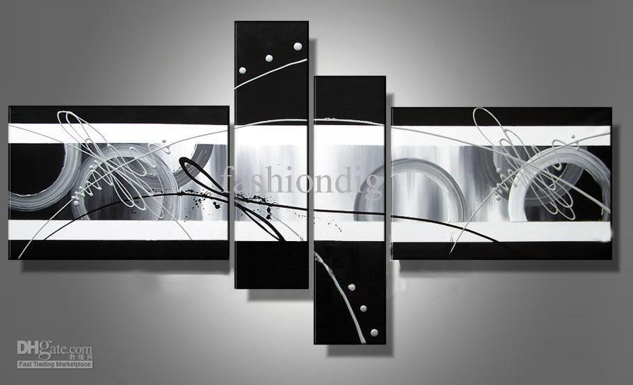 Acheter Étiré abstrait peinture À l huile toile noir blanc gris