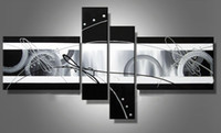 Wholesale Oil Painting Decoration Modern Art - Stretched abstract oil painting canvas Black White Grey artwork Modern decoration handmade home office hotel wall art decor Free Ship Gift
