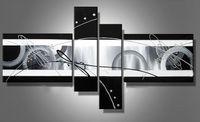 ingrosso arte olio bianco nero-Allungato pittura a olio astratta tela Nero Bianco Grigio opere d'arte moderna decorazione a mano home office hotel wall art decor Nave libera regalo