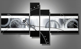 Wholesale Canvas Panel Artwork - Stretched abstract oil painting canvas Black White Grey artwork Modern decoration handmade home office hotel wall art decor Free Ship Gift