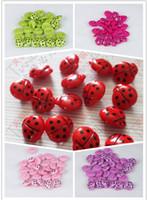 joaninha botons venda por atacado-Sorte joaninha doce cor mista vendas roupas botões navio livre