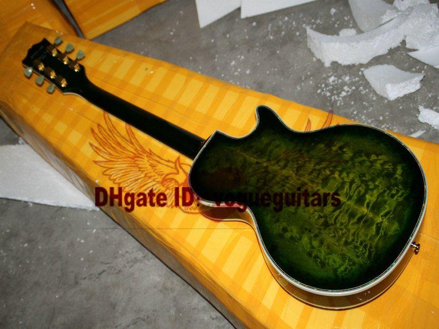 Top Instrumentos Musicais Green Burst 3 Pickups Mão Esquerda Guitarra Elétrica Flor Fingerboard A27