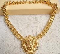 leão de gargantilha venda por atacado-Freeshipping moda new chunky única ligação de chapeamento de ouro animal jóias cabeça de leão choker colar