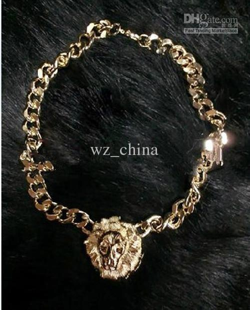 Fashion New Chunky Unique Gold Plating Link Animal Jewelry Lion Head Choker Necklace