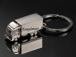 Wholesale Truck Keyring - Fashion Truck Keychains Alloy Lorry Keyrings Promotion Men's Keychains 20pcs Lot Free Shipping