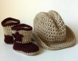Wholesale Cheap Crochet Baby Boots - 10% OFF!2015 NEW ARRIVAL!CHEAP SALE Crochet Baby Cowboy Boots and Cowboy Hat Set!first walker shoes 2set lot crochet baby shoes!