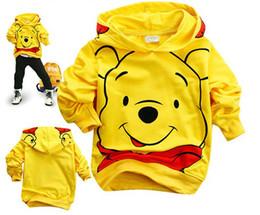 Wholesale Hoodie Bear Sweatshirts - .Wholesale - Popular boys yellow Cartoon Bear Hoodies Long Sweatshirts Children's clothing coat yellow color 6 p l