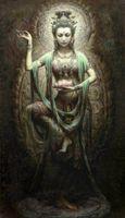 pintura de kwan yin venda por atacado-Emoldurado Chinês Dunhuang Kwan-yin Deusa, 100% Artesanato retrato Arte pintura A Óleo Sobre tela de Lona de Alta Qualidade, Multi tamanhos Disponíveis g029