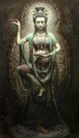 kwan yin ölgemälde großhandel-Gerahmte chinesische Dunhuang Kwan-yin-Göttin, 100% Kunsthandwerk Porträt Ölgemälde auf hochwertigem Segeltuch, Multi Größen erhältlich