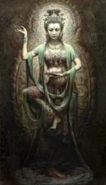 Incorniciato cinese Dunhuang Kwan-yin Dea, 100% Artigianato ritratto pittura a olio di arte su tela di alta qualità, multi formati disponibili g029 da pittura kwan yin fornitori