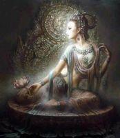 quadros chineses pintura a óleo venda por atacado-Chinês Dunhuang Kwan-yin deusa de Alta Qualidade Artesanato / HD Impressão retrato Arte pintura A Óleo Sobre tela, Multi tamanhos / Frame Opções DH060