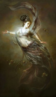 pintando kwan yin al por mayor-Diosa de Dunhuang Kwan-yin volando hada con flores caídas de las nubes, 100% Artesanía Arte Pintura al óleo, tamaños múltiples disponibles DH023