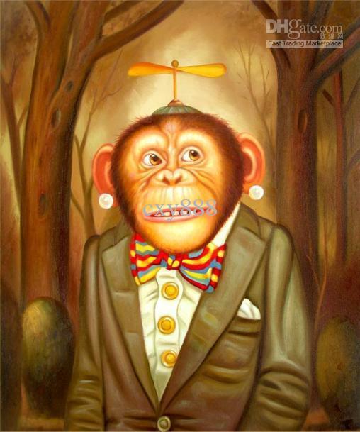 Gerahmtes 100% Handcrafts Qualitäts-modernes Tier-Porträt-Pop-Art-Ölgemälde mit Affen multi Größen vorhanden h046