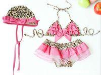 Wholesale Girls Pink Leopard Swimsuit - Girl's swimsuits 2016 new arrive Princess Leopard Bikini swim suit Girl's Bikini + swim skirts + hat