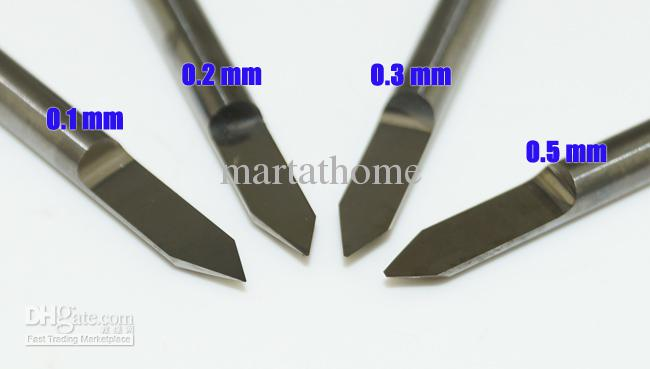 4 pçs / set Kit Completo Carboneto PCB CNC Gravura V Bits 60 Deg 0.1mm, 0.2mm, 0.3mm, 0.5mm # SM467 @ CF