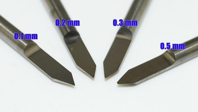 4 pz / set Kit Completo Carburo PCB CNC Incisione V Bit 60 Deg 0.1mm, 0.2mm, 0.3mm, 0.5mm # SM467 @CF
