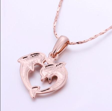 Top qualité plaqué or rose 18 K incrusté pendentif diamant dauphin tchèque livraison gratuite
