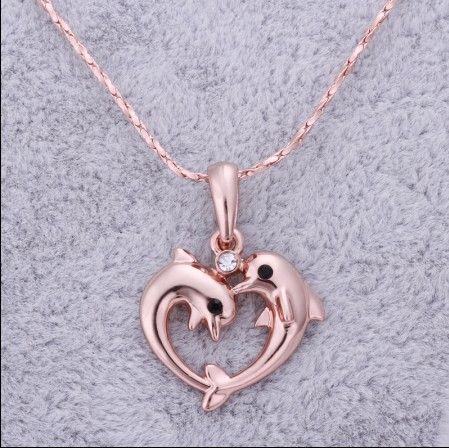 Chapado en oro rosa de calidad superior de 18 quilates incrustaciones de diamantes checo collar colgante delfín envío gratis 10 unids