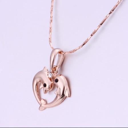 Top qualidade banhado a ouro rosa 18K inlay checo diamante golfinho pingente de colar frete grátis
