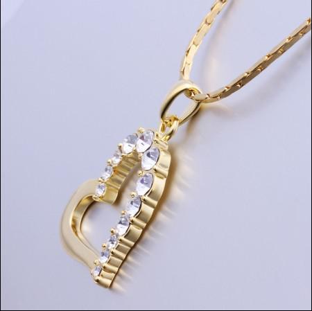 Bijoux de mode Top plaqué or 18K incrustation tchèque diamant pendentif coeur collier livraison gratuite