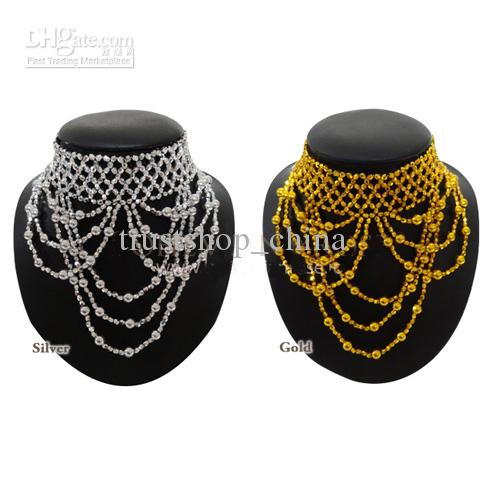 New Belly Dance Bead Handmade Necklace Accesory Elastic Gold//Silver