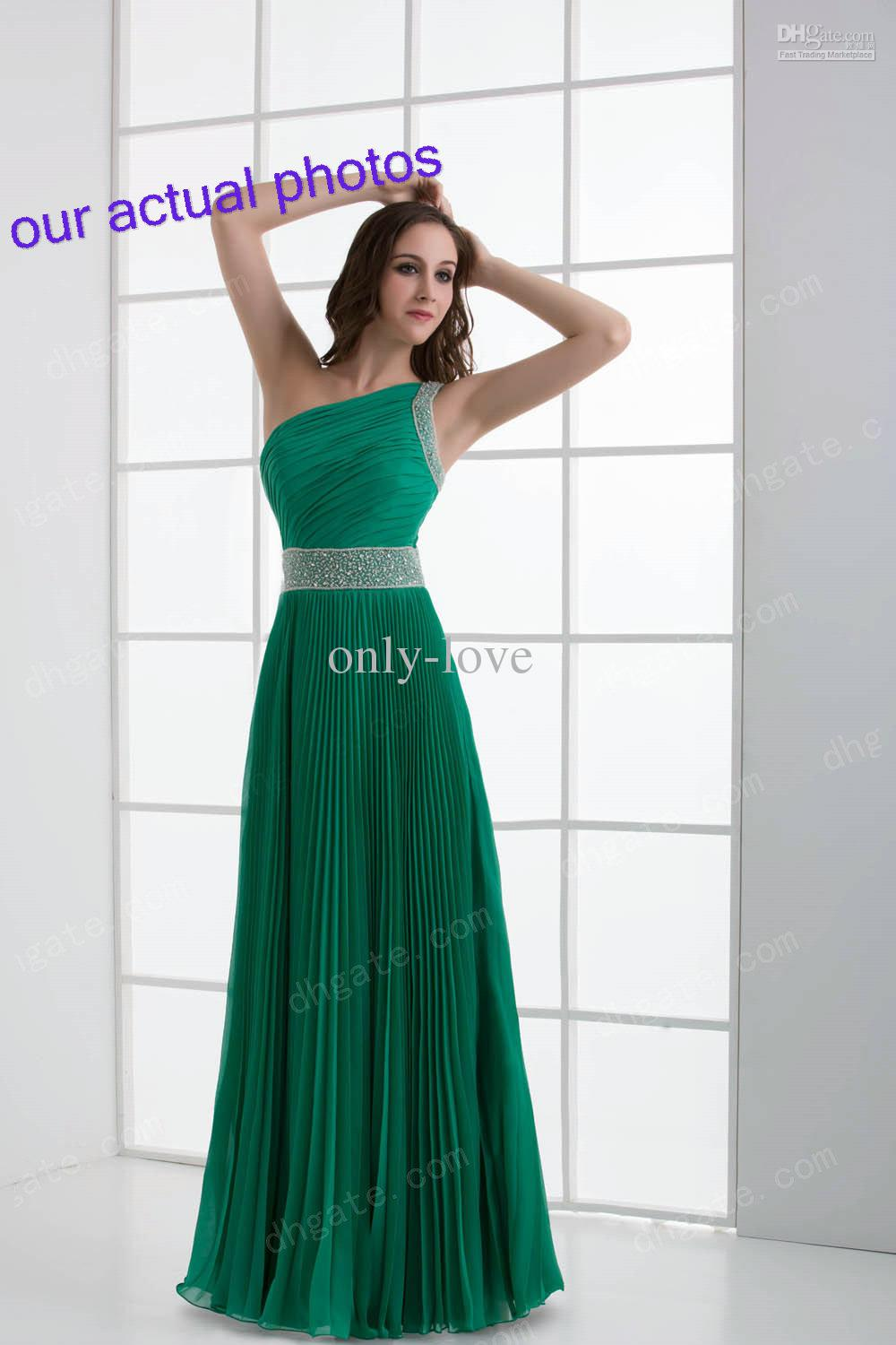 Cheap Jade Sheath Prom Dresses One Shoulder Sleeveless Sequin ...