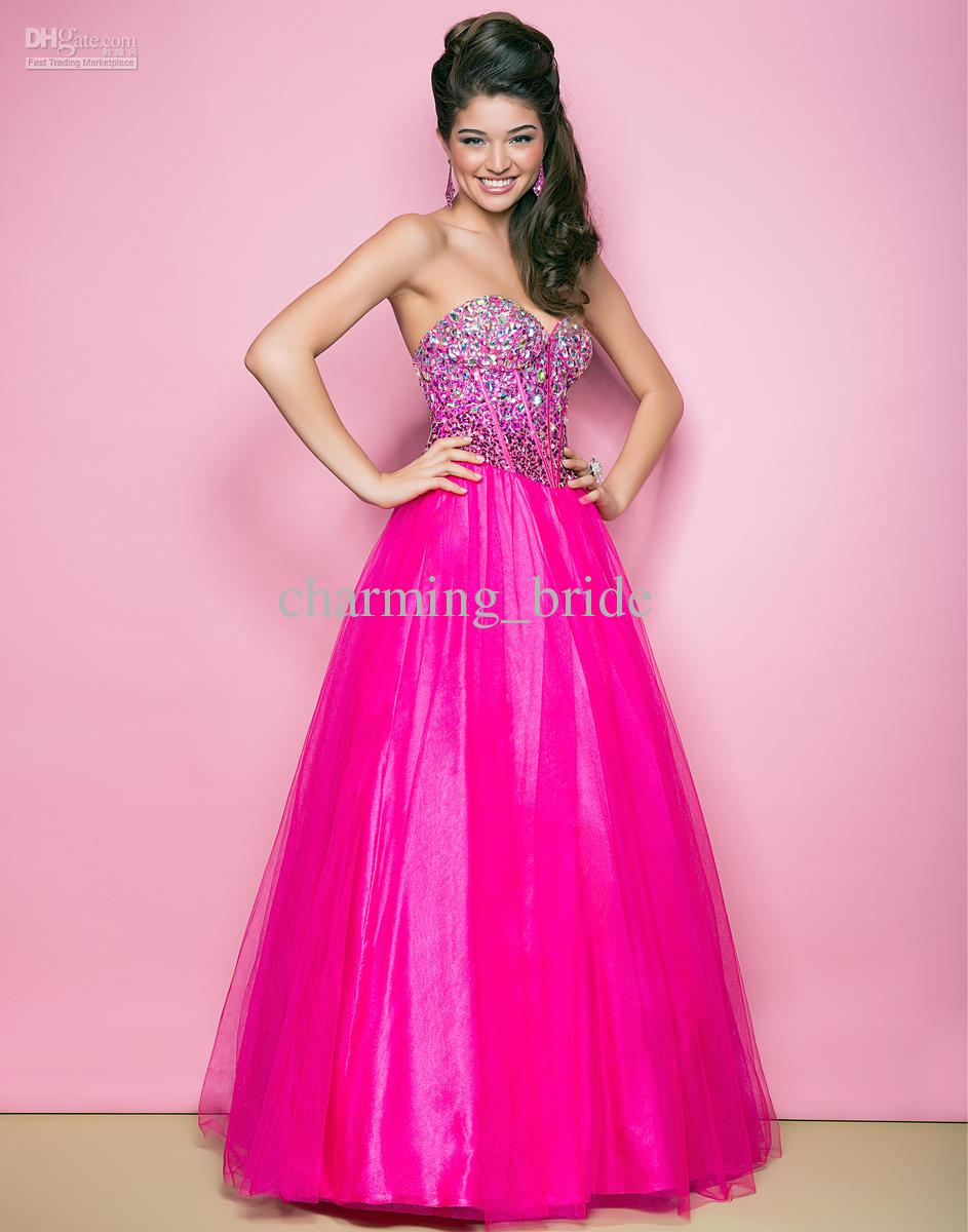 Modern Hot Pink Sweetheart Party Dresses Crystal Sequins A Line ...